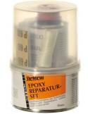 <p>De epoxy reparatie set van Yachticon is alles wat je nodig heb voor een snelle en eenvoudige reparatie. Het universele oplosmiddelvrije epoxyhars verkleefd, versterkt en repareert zowel metaal. Het mengen van de speciale epoxyhars produceert (afhankelijk van de toegevoegde hoeveelheid) een kleefpasta voor het vullen van kieren en gaten. Deze set bestaat uit schuurpapier, plamuur en glasvezelband.</p>
