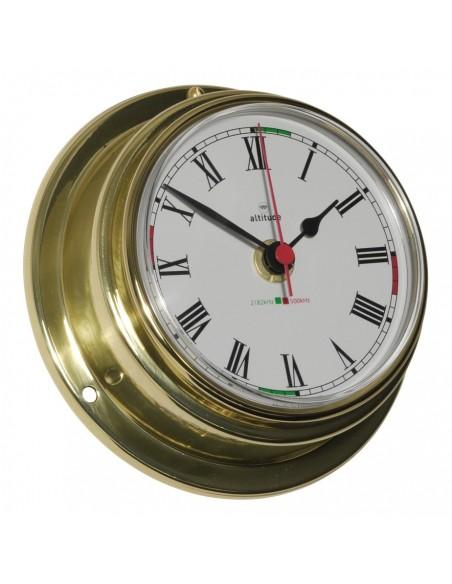 <p><span>Messing klok voorzien van een quartz uurwerk! De wijzerplaat is voorzien van zwarte Arabische cijfers, zwarte wijzers en een rode secondewijzer en is gemaakt van een hoogwaardig messing. Tevens bevat de klok radio stilte sectoren en is gemakkelijk op te hangen. <br /><strong>Afmetingen: </strong>125 mm doorsnede / 50 mm diepte <strong>Materiaal:</strong> messing / acryl glas (pmma)<br /><br /></span></p>