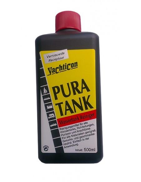 <p>Pura Tank watertank reiniger met nieuwe formule van Yachticon. Hiermee ben je verzekerd van schoon, reukloos en smaakloos drinkwater en zijn geschikt voor alle soorten watertanks. 500 ml Pura Tank is goed voor 160 liter tankinhoud. <br /><strong>Inhoud:</strong> 500 ml</p>