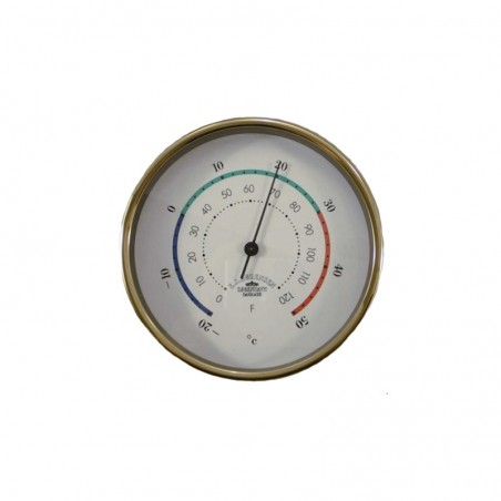 <p>Met deze stijlvolle Mini messing thermometer met 3 kleurige decoratielijn, kunt u altijd de juiste temperatuur meten! Door de hoogwaardige kwaliteit van het merk Delite is dit een betrouwbaar product. De thermometer met witte wijzerplaat meet de omgevingstemperatuur in graden Celsius en graden Fahrenheit.<br /><strong>Afmetingen:</strong> 90 mm doorsnede <strong>Materiaal:</strong> messing<br /><br /></p>