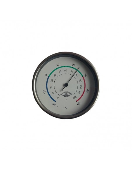 <p>Met deze stijlvolle Mini thermometer van glanzend rvs met 3 kleurige decoratielijn, kun je altijd de juiste temperatuur meten. Door de hoogwaardige kwaliteit van het Deense merk Delite is dit zeker een betrouwbaar product! De thermometer met witte wijzerplaat meet de omgevingstemperatuur in graden Celsius en graden Fahrenheit. <br /><strong>Afmetingen:</strong> 90 mm doorsnede <strong>Materiaal:</strong> glanzend rvs</p>