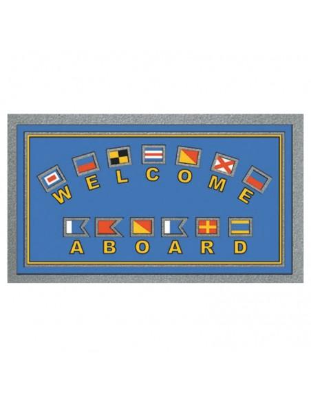 <p>Nautische kleurrijke entreemat met vlaggen motief en tekst. Deze entreemat is gemaakt van geschuimd polyurethaan en hoort bij het topmerk The Captain's Collection! Met deze entreemat zal je visite zich extra welkom voelen!<br /><strong>Afmetingen:</strong> 68 x 40 cm <strong>Kleur:</strong> blauw</p>