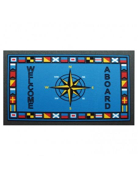 <p>Met deze mooie kleurrijke entreemat valt jouw entree extra op! De blauwe entreemat is gemaakt van geschuimd polyurethaan en is uitgevoerd met kompas motief en tekst. De mooie entreemat met kompas motief is van het merk The Captain's Collection!<br /><strong>Afmetingen:</strong> 68 x 40 cm <strong>Kleur:</strong> blauw</p>