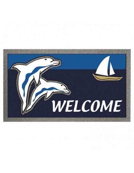 <p>Deze entreemat met leuke dolfijn en boot afbeelding zal geweldig staan bij jou aan boord, caravan of thuis! Deze unieke entreemat is van het goede merk The Captain's Collection en is gemaakt van geschuimd polyurethaan. Wie wil deze leuke entree mat nou niet!<br /><strong>Afmetingen:</strong> 68 x 40 cm <strong>Kleur:</strong> blauw</p>