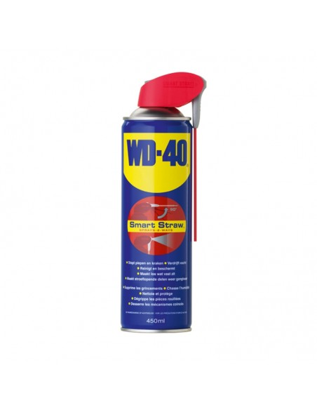 <p>het bekende smeermiddel van WD-40 Smarstraw is te gebruiken als roestoplosser, smeermiddel, contactspray, reiniger en corrosiepreventie. Wanneer iets piept, kraakt, vastzit of roest is WD-40 de oplossing. Deze bevat een uniek inklapbaar smart straw systeem. <br /><strong>Inhoud:</strong>450 ml</p>