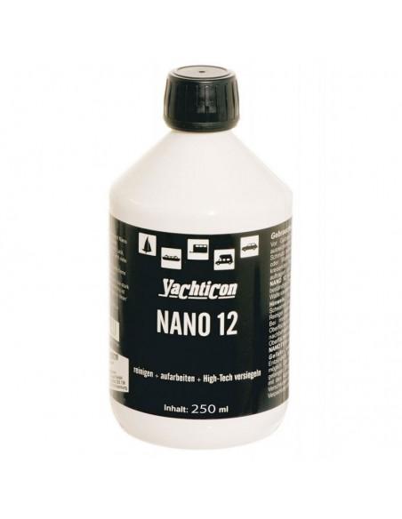 <p>De Nano 12 van Yachticon is een innovatief high-tech schoonmaakmiddel met beschermende nano-laag en de fijnste slijpmiddelen en met polijstmiddel. De Nano 12 zorgt ervoor dat het een langhoudende schoonmaak en bescherming van gelcoat, gelakt oppervlak, staal, synthetisch materiaal, aluminium, pvc, etc. Zorgt voor een extreem hard oppervlak dat zeer krachtig en water afbreekbaar. <br /><strong>Inhoud:</strong> 250 ml</p>