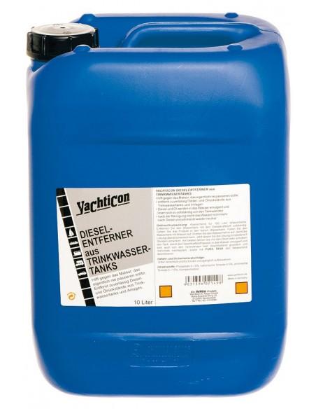 <p>De dieselverwijderaar voor drinkwatertanks van Yachticon zorgt ervoor dat de diesel en olierestjes uit watertanks en watersystemen. Na gebruik ruikt of smaakt het water niet meer onplezierig! <br /><strong>Inhoud:</strong> 10 liter goed voor 100 liter</p>