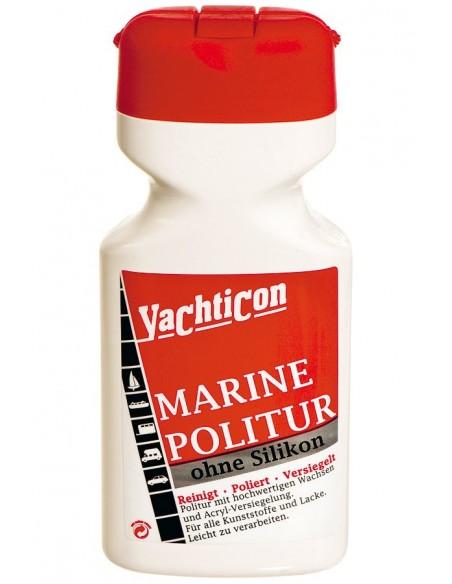 <p>De Marine Polish reinigt en beschermd tegen roest en vervagingen laat een glanzende laag achter. Deze is te gebruiken voor alle verf, kunststof en gelcoats. Bevat geen siliconen en is op waterbasis. De Marine Politoer is voor hand en machine gebruik. <br /><strong>Inhoud:</strong> 500 ml</p>