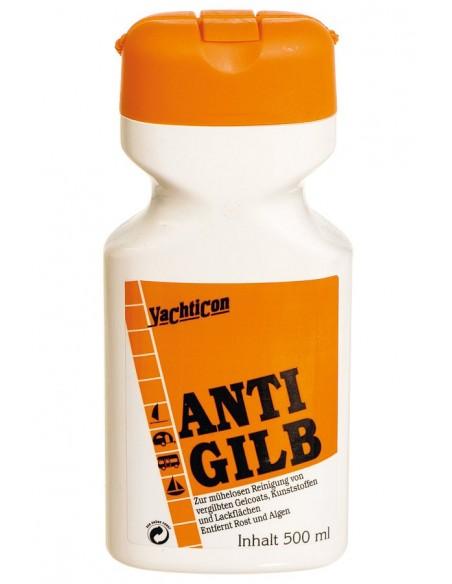 <p>Dit anti geel schoonmaakmiddel van Yachticon verwijderd verkleuring van kunststof, fiberglas, gelcoat en verf. Het anti gilb middel is speciaal gemaakt om de gele aanslagslijn aan de boegzijde te verwijderen, tevens verwijdert het roest. Het anti geel middel krast of schuurt niet.<br /><strong>Inhoud:</strong> 500 ml</p>