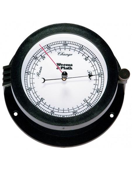 <p>Doordat deze barometer is gemaakt van Styreen is de klok spatwaterbestendig en kan dus blootgesteld worden aan het weer! De Bluewater barometer van het merk Weems& Plath en heeft weinig onderhoud nodig en is volledig instelbaar. W&P staat voor scheepsinstrumenten van een zeer goede kwaliteit!<br /><strong>Afmetingen:</strong> 140 mm doorsnede / 73 mm diepte <strong>Materiaal:</strong>styreen</p>