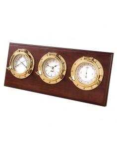 Porthole - Weerstation - Quartz Klok / Barometer / Thermometer / Hygrometer - Arabisch - Koper - Hardhout