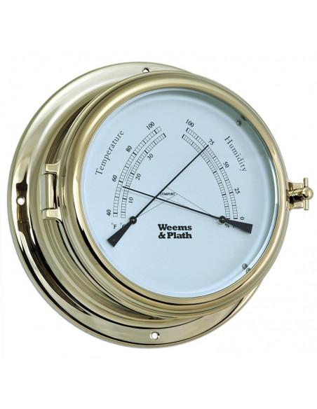 <p>Dezethermometer / hygrometerkomt uit de Endurance II serie van het merk Weems& Plath. Deze Endurance II thermometer / hygrometer heeft een Celsius en Fahrenheit indeling en is gemaakt van messing. Deze thermometer en hygrometer is daarnaast ook weerbestendig, en je krijgt levenslange garantie van W&P.<br /><strong>Afmetingen:</strong> 178 mm doorsnede / 64 mm diepte <strong>Materiaal:</strong> messing</p>