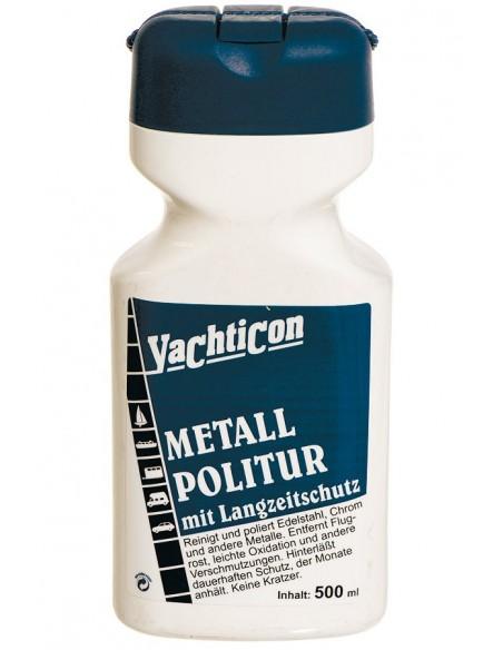 <p>De politoer metaal polish van Yachticon reinigt en beschermd edelstaal, messing, chroom of andere metalen, deze verwijdert oppervlakkige roest en ander vuil. Krast niet en geeft maandenlange bescherming. <br /><strong>Inhoud:</strong> 500 ml</p>