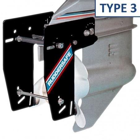 <p>De Ruddersafe Type 3 is een soort dubbelroer voor de buitenboordmotoren en hekaandrijvingen. De Ruddersafe geeft een zeer goede optimale manoeuvreerbaarheid en een zeer verbeterde koersstabiliteit bij geringe vaarsnelheden, werkt zowel vooruit als achteruit. Ruddersafe ook wel het roerei van columbus genoemd! <br /><strong>Afmetingen:</strong> voor boten tot 8,5 m lengte</p>