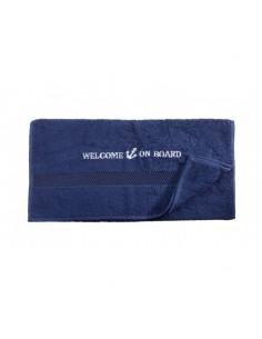 Handdoek - Navy - 50 x 100 cm - Welcome On Board - Textiel - 10149802