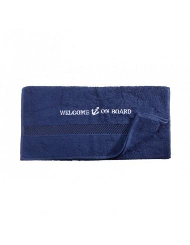 Handdoek - Navy - 50 x 100 cm - Welcome On Board - Textiel - 10149802 - €12,05