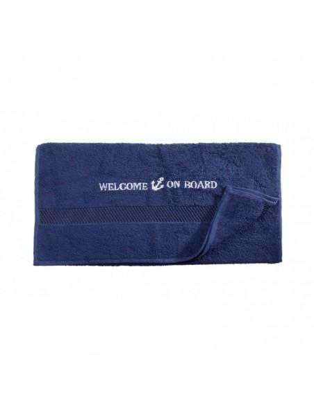 <p>Prachtige handdoek met geborduurde tekst 'Welcome on board' wat tevens ook het merk is. De handdoek is heerlijk zacht, omdat deze is gemaakt van hoge kwaliteit (500 gr/m²) 100% katoen. Van deze collectie is er ook een gastendoekje en badlaken en twee verschillende kleuren verkrijgbaar. <br /><strong>Afmetingen:</strong> 50 x 100 cm <strong>Materiaal:</strong> katoen <strong>Kleur:</strong> marine blauw</p>