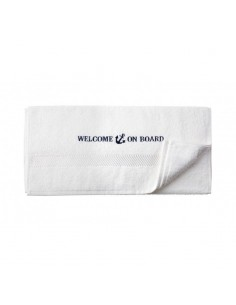 Handdoek - Wit - 50 x 100 cm - Welcome On Board - Textiel - 10149805 - € 12,05