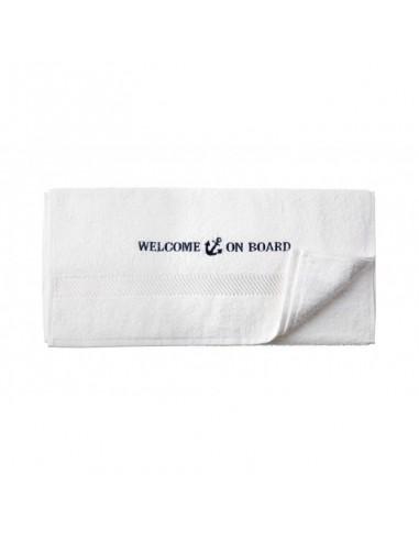 Handdoek - Wit - 50 x 100 cm - Welcome On Board - Textiel - 10149805 - €12,05