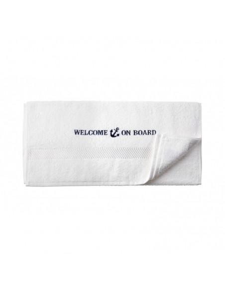 <p>Mooie witte handdoek gemaakt van 100% katoen en heeft een kwaliteit van 500 gr/m², daardoor is de handdoek heerlijk zacht! Deze handdoek heeft een mooie nautische geborduurde tekst en is van het merk stijlvolle merk Welcome On Board. De handdoek is in twee verschillende kleuren en drie verschillende maten verkrijgbaar. <br /><strong>Afmetingen:</strong> 50 x 100 cm <strong>Materiaal:</strong> katoen <strong>Kleur:</strong> wit</p>