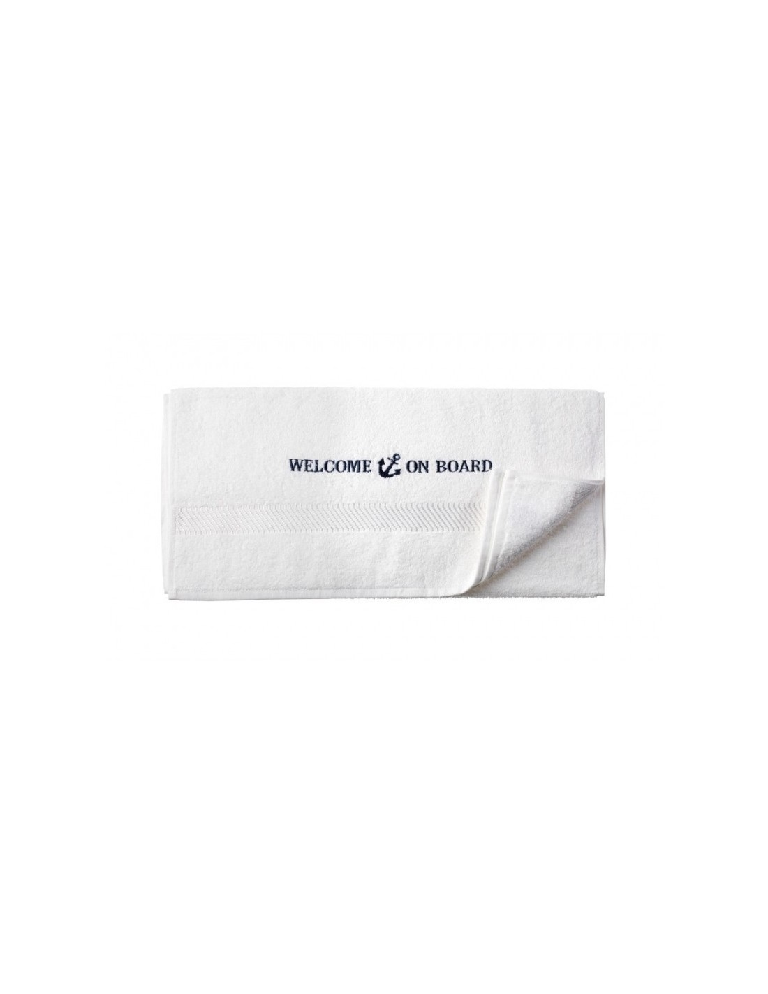 Handdoek - Wit - 50 x 100 cm - Welcome On Board - Textiel - 10149805
