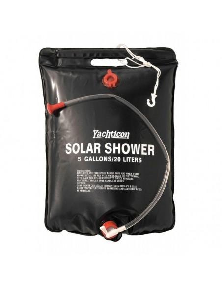 <p>Geen douche in de buurt? En je wilt toch warm douchen? De Solar douche van Yachticon helpt je hierbij! Het water wordt opgewarmd door zonneverwarming en bevat een inhoud van 20 liter. Deze Solar douche is gemaakt vanhoogwaardig pvc en heeft een inham, een douchepijp met tapkraan en is gemakkelijk op te rollen en op te bergen. <br /><strong>Kleur:</strong> zwart</p>