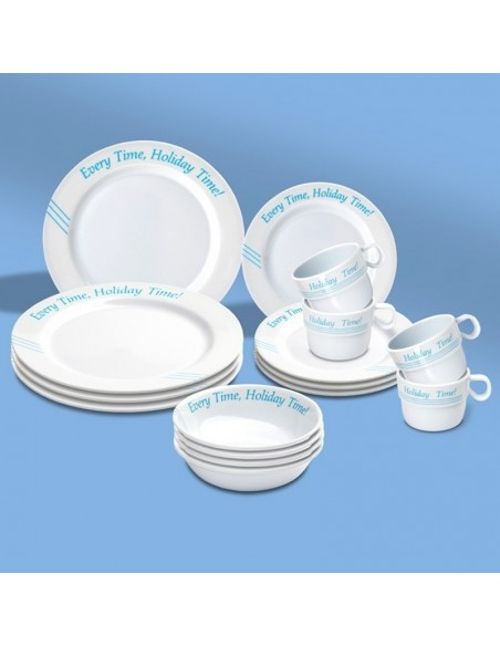 Luxe Optima Picknickmand - Gevuld Met Melamine Serviesgoed - 4-Persoons - The Captain's Collection - Scheepsserviesgoed - 260...