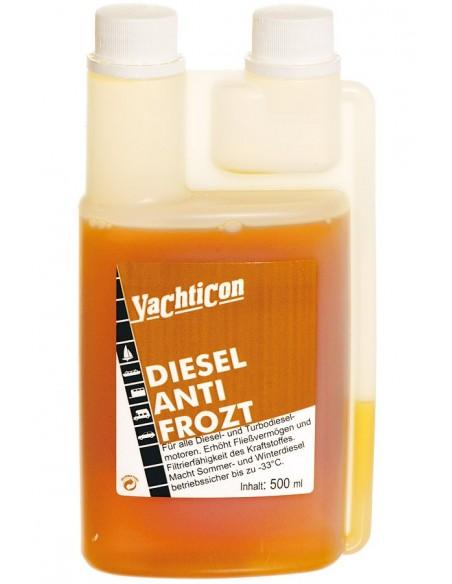 <p><strong></strong>De diesel antivries van Yachticon zorgt voor een betere doorstroming van de diesel in de winter tot -33 °C en is geschikt voor alle diesel en turbodiesel motoren. <br /><strong>ATTENTIE! Niet de antivries gebruiken om de tank mee te vullen in de zomer. De antivries verliest dan zijn werking in de winter! </strong><br /><strong>Inhoud:</strong> 500 ml</p>