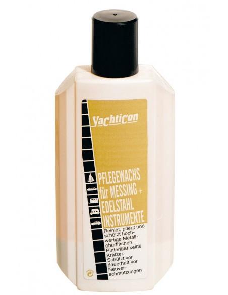 <p>De onderhoudswas van Yachticon beschermd en maakt alle messing en rvs oppervlakken (bijvoorbeeld scheepsinstrumenten / scheepslampen) van hoge kwaliteit goed schoon! Het verwijdert lichte roest en oxidatie plekken en laat daarbij een hoge glans plus een beschermende laag achter. De onderhoudswas gaat tevens waterdruppels tegen.<br /><strong>Inhoud:</strong> 250 ml</p>