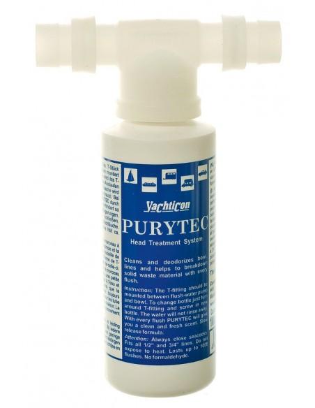 <p>De Putytec toilet gelspoeling set bestaat uit het Purytec-T-Stuk en een navul flesje van 100 ml Toilet gelspoeling. Dit middel werkt tegen ongewenste aanslag, geur, kalk en geeft een frisse geur bij iedere spoelbeurt! Purytec toilet gelspoeling is gemakkelijk te monteren in het toilet door middel van een half inch of een driekwart aansluiting. <br /><strong>Inhoud:</strong> 100 ml (is genoeg voor ca. 400 spoelingen)</p>