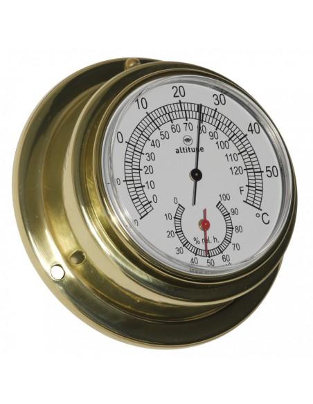 <p><span>De Altitudethermo en hygometer heeft een strak design met een eenvoudigaf te lezen door de duidelijke wijzerplaat afkomstig uit Denemarken. Hij is voorzien van een acrylglas en de behuizing is gemaakt van hoogwaardige kwaliteit messing. De thermo en hygrometer is 'frond loaded' voor een zeer gemakkelijke toegang. <br /><strong>Afmetingen: </strong>95mm doorsnede / 40 mm diepte <strong>Materiaal:</strong> messing / acryl glas (pmma)<br /><br /></span></p>