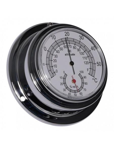 <p><span><span>De Altitudethermo en hygometer heeft een strak design met een eenvoudigaf te lezen door de wijzerplaat afkomstig uit Denemarken. Hij is voorzien van een acryl glas en de behuizing is vervaardigd van hoogwaardig chroom. De thermo en hygrometer is 'frond loaded' voor een zeer gemakkelijke toegang. <br /><strong>Afmetingen: </strong>95mm doorsnede / 40 mm diepte <strong>Materiaal:</strong> verchroomd messing / acryl glas (pmma)<br /></span></span></p>
