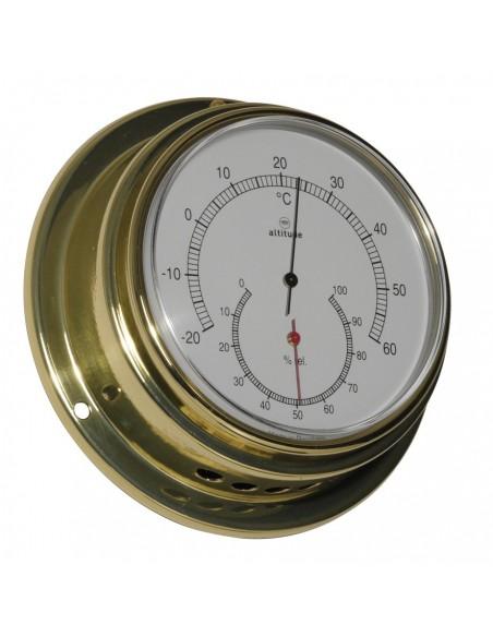 <p>De Altitudethermo en hygometer heeft een strak design met een nauwkeurige af te lezen wijzerplaat. De thermometer en hygrometeris voorzien van een acryl glas en de behuizing is van hoogwaardige kwaliteit messing. De thermo en hygrometer heeft een 'front loaded' systeem voor een gemakkelijke toegang. <br /><strong>Afmetingen: </strong>125 mm doorsnede / 50 mm diepte, <strong>Materiaal:</strong> messing / acryl glas (pmma)</p>