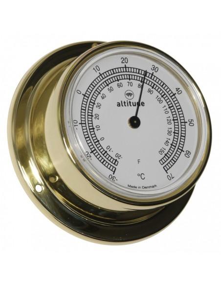 <p>Met deze mooie thermometer van Altitude weet je altijd wat de juiste temperatuur is! Doordat de behuizing gemaakt is van messing heeft de thermometer een extra luxe uitstraling! Zeer geschikt voor in een huis of aan boord en bevat 3 jaar garantie vanaf de aankoopdatum. <br /><strong>Afmetingen: </strong>71 mm doorsnede / 29 mm diepte <strong>Materiaal:</strong> messing</p>