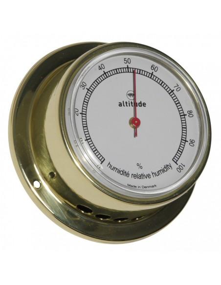 <p>Met deze mooie hygrometer van Altitude gemaakt van messing weet je altijd wat de goede luchtvochtigheid is!De wijzerplaat is gemakkelijk af te lezen en is handig te gebruiken voor op een schip. De hygrometer is afkomstig uit de Delite fabriek uit Denemarken en heeft 3 jaar garantie vanaf de aankoopdatum. <br /><strong>Afmetingen: </strong>71 mm doorsnede / 29 mm diepte <strong>Materiaal:</strong> messing / acryl glas (pmma)</p>