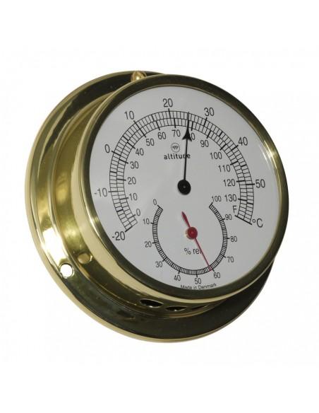 <p>Dit is een thermo en hygrometer van zeer hoge kwaliteit, deze meter is afkomstig van Denemarken van het prachtige merk Altitude. Deze thermometer en hygrometer heeft een messing behuizing en het glas is gemaakt van acryl glas (pmma). Daarbij heeft de thermo en hygrometer 3 jaar garantie vanaf de aankoopdatum. <br /><strong>Afmetingen:</strong> 97 mm doorsnede / 30 mm diepte <strong>Materiaal:</strong> messing / acryl glas (pmma)</p>