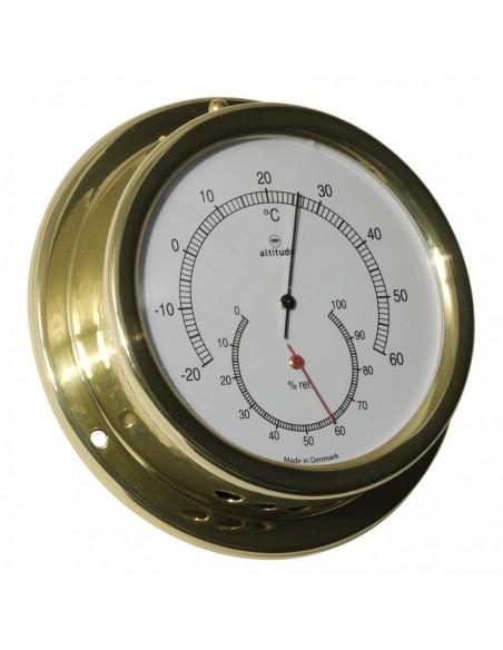 <p>Door de authentieke uitstraling is dit een prachtige Altitude thermo en hygrometer! De gecombineerde thermometer en hygrometer bevat een eenvoudig af te lezen wijzerplaat. De Altitude scheepsinstrumenten zijn van een zeer goede en perfecte kwaliteit! <br /><strong>Afmetingen:</strong> 127 mm doorsnede / 40 mm diepte <strong>Materiaal:</strong> messing / acryl glas (pmma)</p>