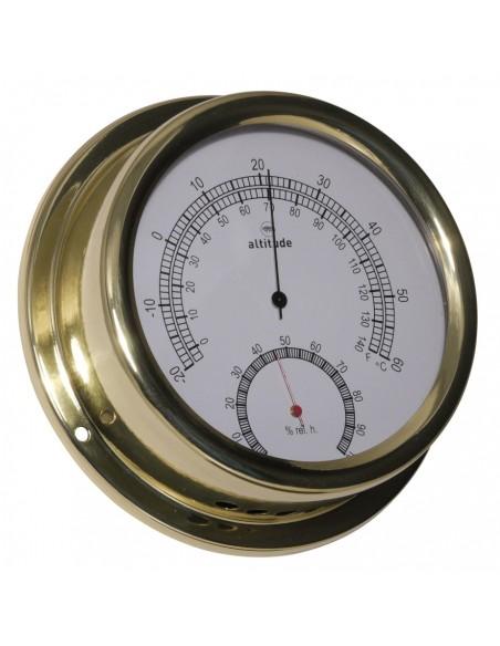 <p>Thermometer en hygrometer van zeer hoge kwaliteit! Dit scheepsinstrument hoort bij het merk Altitude wat is geproduceerd door Delite in Denemarken. De behuizing is gemaakt van messing en bevat prachtig glanzend acryl glas (pmma). Op de thermometer en hygrometer zit 3 jaar garantie vanaf de aankoopdatum. <br /><strong>Afmetingen:</strong> 150 mm doorsnede / 42 mm diepte <strong>Materiaal:</strong> messing / acryl glas (pmma)</p>