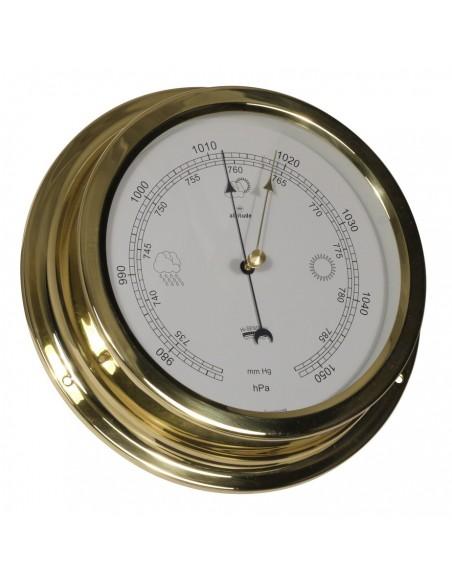 <p>Barometer van hoge kwaliteit en heeft een nauwkeurigheid van wel ±7hPa milibar! Deze meter is afkomstig van het merk Altitude, wat al bestaat sinds 1955! En heeft 3 jaar garantie vanaf de aankoopdatum! De barometer heeft een omhulsel gemaakt van 0,8 mm dik messing en de glasplaat is gemaakt van acryl glas (pmma). <br /><strong>Afmetingen:</strong> 224 mm doorsnede / 50 mm diepte <strong>Materiaal:</strong> messing / acryl glas (pmma)</p>