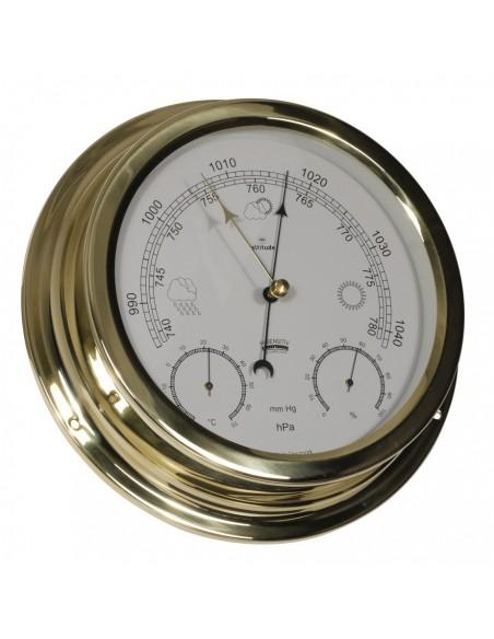 <p>Wat handig voor kleinere ruimtes een barometer, thermometer en hygrometer inéén scheepsinstrument! De barometer, thermometer en hygrometer is gemaakt van een hoge kwaliteit messing en acryl glas (pmma) en behoort tot het merk Altitude! Daarbij heb je 3 jaar garantie vanaf de aankoopdatum. <br /><strong>Afmetingen:</strong> 224 mm doorsnede / 50 mm diepte <strong>Materiaal:</strong> messing / acryl glas (pmma)</p>
