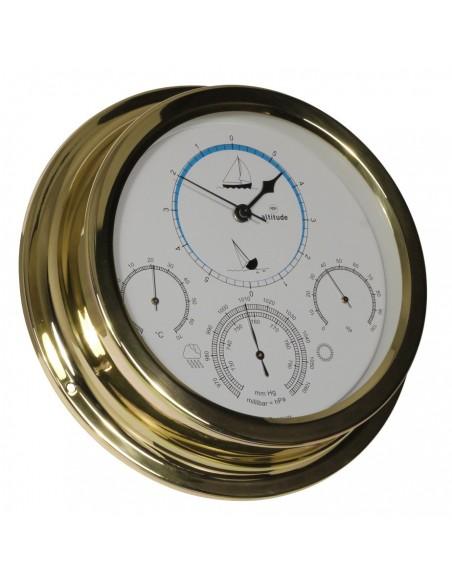 <p>Prachtige scheepsklok bestaande uit een getijdenklok, barometer, thermometer en hygrometer! Zeer handig en praktisch bij kleinere ruimtes of weinig plek. De gecombineerde klok en meter van messing hoort tot het merk Altitude wat geproduceerd is door Delite afkomstig uit Denemarken. <br /><strong>Afmetingen:</strong> 224 mm doorsnede / 50 mm diepte <strong>Materiaal:</strong> messing / acryl glas (pmma)</p>
