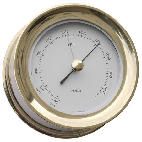 <p>Prachtige barometer met een strak Scandinavisch design! Deze barometer behoord tot de Zealand serie van het merk Delite en is zeer handig om de luchtdruk af te lezen in huis of boot. De Zealand barometer is gemaakt van messing van hoge kwaliteit en bezit een witte wijzerplaat. <br /><strong>Afmetingen: </strong>110 mm doorsnede / 45 mm diepte <strong>Materiaal:</strong> messing</p>