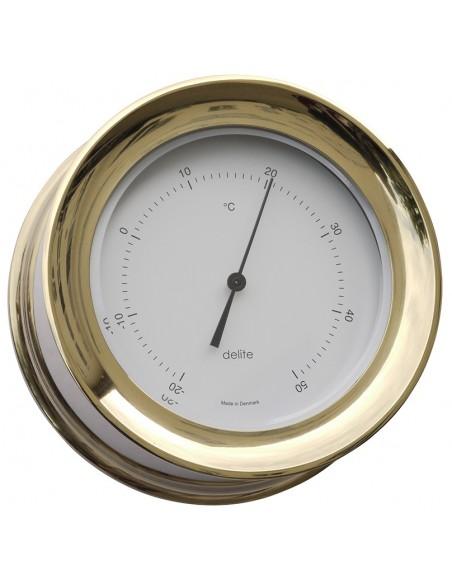 <p>De Zealand thermometer van Delite heeft een extra strak en stijlvol uiterlijk! Deze thermometer heeft een Celsius indeling met witte wijzerplaat en is gemaakt van een hoge kwaliteit messing. Deze thermometer is het zeker waard om aan je muur te hangen aan boord of thuis! <br /><strong>Afmetingen:</strong> 110 mm doorsnede / 45 mm diepte <strong>Materiaal:</strong> messing</p>