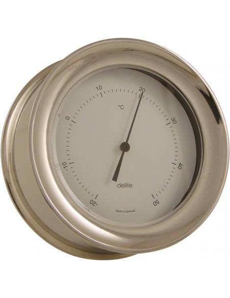 <p>Mooie thermometer met een stijlvol design, zowel handig als werkelijk prachtig! Deze behoord tot de Zealand collectie van Delite en is op te hangen zonder de schroeven erna te zien door het handige klik systeem. De thermometer bevat een witte wijzerplaat en heeft een Celsius indeling. <br /><strong>Afmetingen:</strong> 110 mm doorsnede / 45 mm diepte <strong>Materiaal:</strong> glanzend rvs</p>