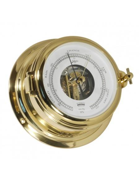 <p>Mooie barometer met open wijzerplaat, daardoor kun je een deel van het uurwerk aan de binnenkant zien van de klok. De barometer heeft een indeling met hPa/mm met witte wijzerplaat en is gemaakt van prachtig glanzend messing. Deze barometer komt uit de Midi 155 collectie van Schatz 1881 tegenwoordig geproduceerd in Denemarken. <br /><strong>Afmetingen:</strong> 155 mm doorsnede / 70 mm diepte <strong>Materiaal:</strong> glanzend messing</p>