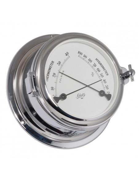 <p>Dezethermo en hygrometerheeft een indeling in ºC en ºF op een duidelijk leesbare witte wijzerplaat. De comfortmeter is gemaakt van verchroomd messing en beschikt over een patrijspoort voor een gemakkelijke toegang naar de wijzerplaat. Deze comfortmeter komt uit de Midi 155 serie van Schatz 1881. <br /><strong>Afmetingen:</strong> 155 mm doorsnede / 70 mm diepte <strong>Materiaal:</strong> verchroomd messing</p>