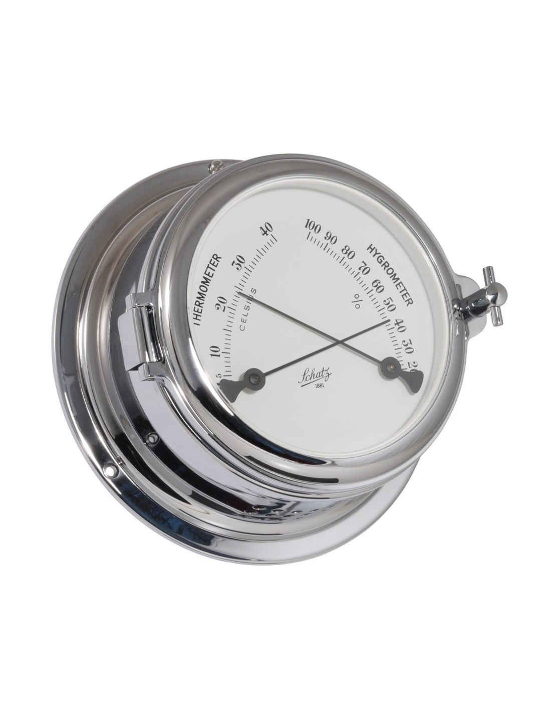 Midi 155 - Thermometer / Hygrometer - Verchroomd - Schatz 1881 - Scheepsinstrumenten - 453 HT