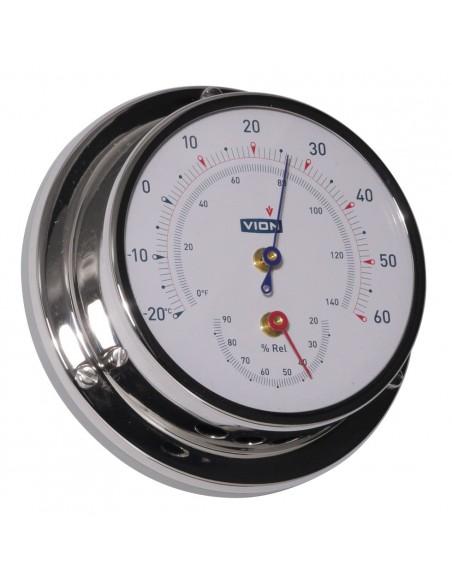 <p>Deze thermometer en hygrometer van het merk Vion heeft een haar hygrometer met synthetische precisie en de nauwkeurigheid van deze meter is ±2,5%. De thermometer / hygrometer heeft een duidelijke witte wijzerplaat en een blauwe en rode aanwijzers. De meter wordt inclusief wandbevestiging geleverd.<br /><strong>Afmetingen:</strong> 97 mm doorsnede / 32 mm diepte <strong>Materiaal:</strong> glanzend rvs / acryl glas</p>