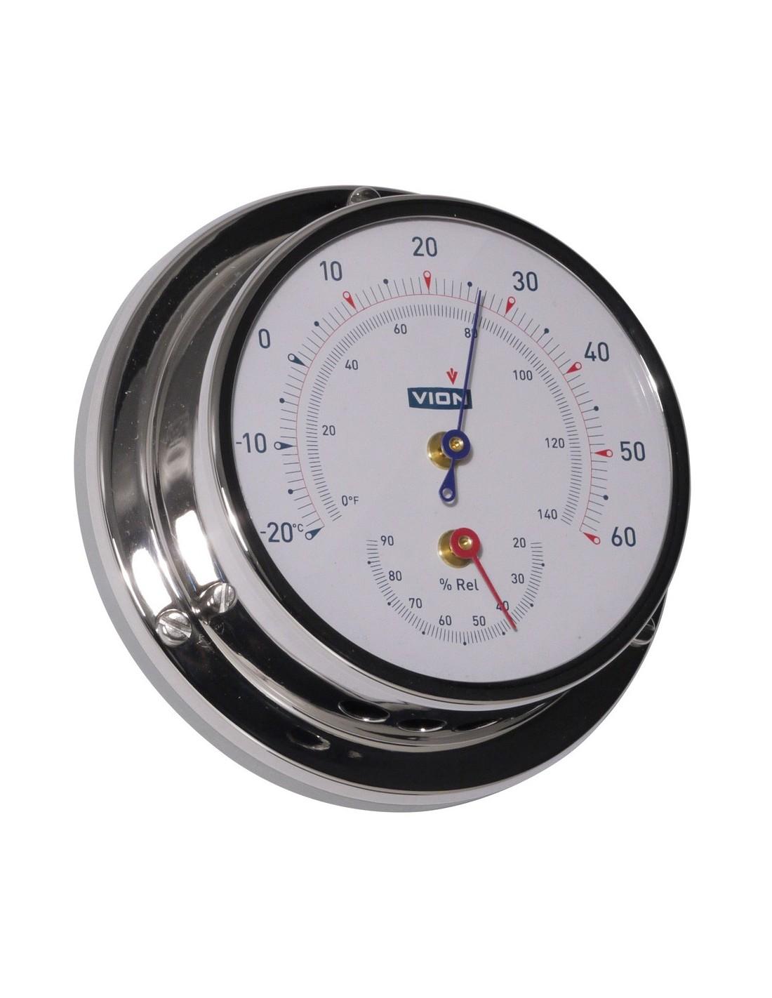 Thermometer / Hygrometer - Glanzend RVS - 97 mm