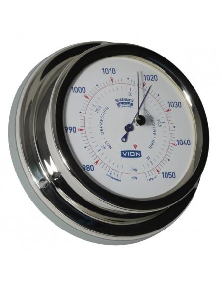 <p>Deze Vion barometer is uitgerust met high-sensitivity techniek en de beweging van de barometer wijzer wordt 1,5 maal vergroot ten opzichte van de beweging van een conventionele barometer. De luchtdrukmeter is van glanzend rvs en is voorzien van acrylglas. De nauwkeurige barometer is geschikt voor op de boot of schip!<br /><strong>Afmetingen:</strong> 129 mm doorsnede / 40 mm diepte <strong>Materiaal:</strong> glanzend rvs / acryl glas</p>